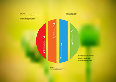 Illustration infographic template with motif of circle vertically divided to four color standalone sections.