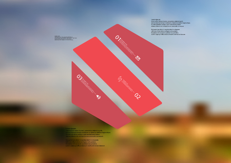 Illustration infographic template with motif of hexagon askew divided to three red standalone sections. Blurred photo with natural motif landscape with cloudy sky is used as background.