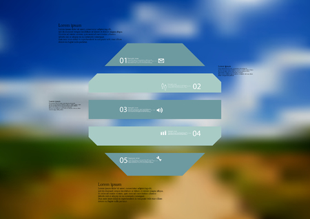 Illustration infographic template with motif of octagon horizontally divided to five blue standalone sections. Blurred photo with natural motif landscape with cloudy sky is used as background.