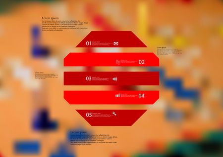 Illustration infographic template with motif of octagon horizontally divided to five red standalone sections. Blurred photo with ludo board game motif is used as background.