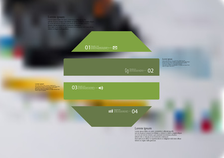 Illustration infographic template with motif of octagon horizontally divided to four green standalone sections. Blurred photo with financial motif with charts and calculator is used as background. Illustration