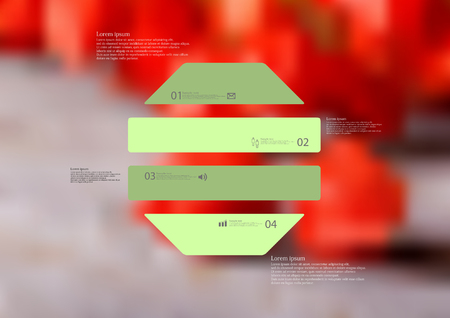 Illustration infographic template with motif of octagon horizontally divided to four green standalone sections. Blurred photo with natural motif with red blooms is used as background. Illustration