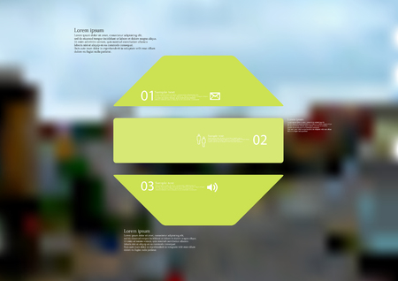 Illustration infographic template with motif of octagon horizontally divided to three green standalone sections. Blurred photo with city motif with crossroad of streets is used as background. Illustration