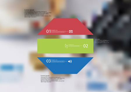 Illustration infographic template with motif of octagon horizontally divided to three color standalone sections. Blurred photo with financial motif with charts, coins and calculator is used as background.