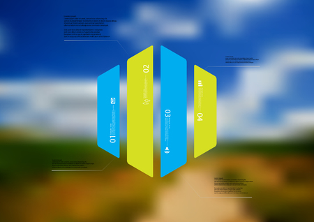 Illustration infographic template with motif of hexagon vertically divided to four color standalone sections. Blurred photo with natural motif landscape with cloudy sky is used as background.