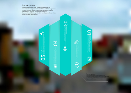 Illustration infographic template with motif of hexagon vertically divided to five blue shifted standalone sections. Blurred photo with city motif with crossroad of streets is used as background. Illustration
