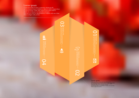 Illustration infographic template with motif of hexagon vertically divided to four shifted orange sections. Illustration