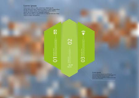 Illustration infographic template with motif of hexagon vertically divided to three shifted green sections.