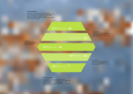 Illustration infographic template with motif of hexagon horizontally divided to five standalone green sections. Blurred photo with texture motif of worn wooden board is used as background.