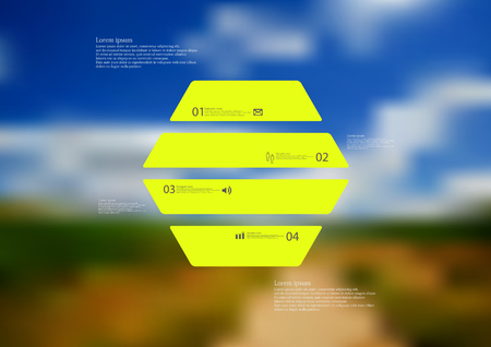 standalone: Illustration infographic template with motif of hexagon horizontally divided to four standalone green sections. Blurred photo with natural motif landscape with cloudy sky is used as background.