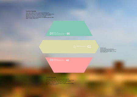 Illustration infographic template with motif of hexagon horizontally divided to three standalone color sections. Blurred photo with natural motif landscape with cloudy sky is used as background. Illustration