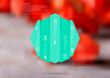 Illustration infographic template with motif of octagon vertically divided to five shifted green sections.