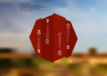 Illustration infographic template with motif of octagon vertically divided to four. Illustration