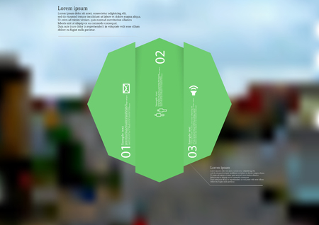 Illustration infographic template with motif of octagon vertically divided to three shifted green sections.