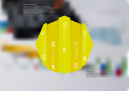 Illustration infographic template with motif of octagon vertically divided to five shifted yellow sections.