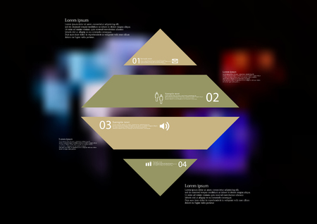 Illustration infographic template with motif of rhombus horizontally divided to four standalone color sections.