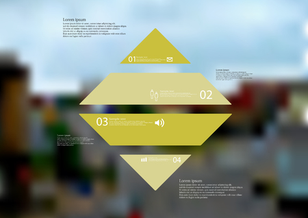 Illustration infographic template with motif of rhombus horizontally divided to four standalone green sections.