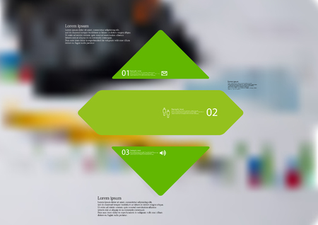 Illustration infographic template with motif of rhombus horizontally divided to three standalone green sections with simple sign, number and sample text. Blurred photo is used as background. Illustration