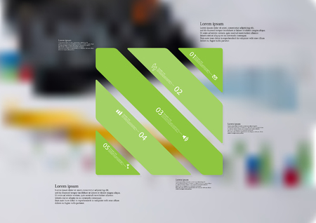 Illustration infographic template with motif of rectangle askew divided to five standalone green sections with simple sign, number and sample text.