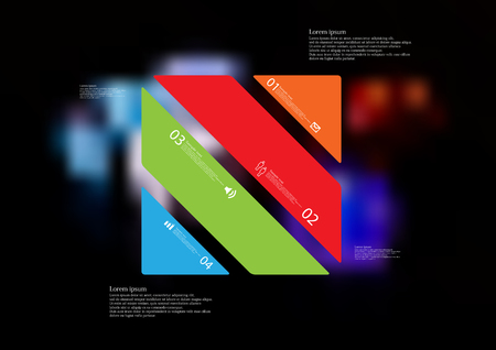 Illustration infographic template with motif of rectangle askew divided to four standalone color sections with simple sign, number and sample text. Illustration