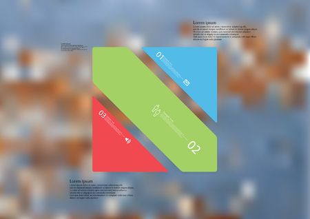 Illustration infographic template with motif of rectangle askew divided to three standalone color sections with simple sign, number and sample text. Blurred photo is used as background.