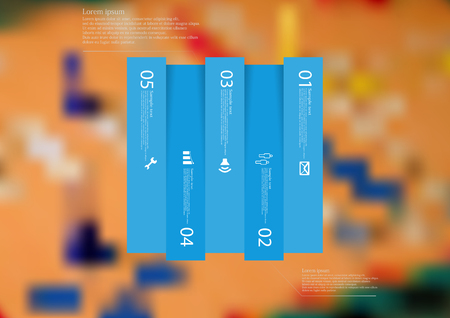 Illustration infographic template with motif of rectangle vertically divided to five shifted blue sections with simple sign, number and sample text. Blurred photo is used as background. Illustration