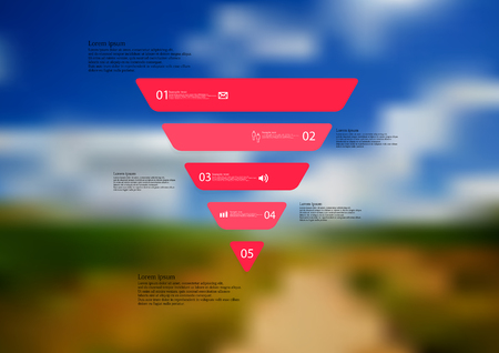 Illustration infographic template with motif of triangle horizontally divided to five standalone red sections with simple sign, number and sample text. Blurred photo is used as background.