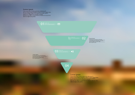 Illustration infographic template with motif of triangle horizontally divided to four standalone green sections with simple sign, number and sample text. Blurred photo is used as background.