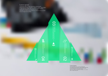 Illustration infographic template with motif of triangle vertically divided to five shifted green sections with simple sign, number and sample text. Blurred photo is used as background.