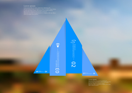 Illustration infographic template with motif of triangle vertically divided to four shifted blue sections with simple sign, number and sample text. Blurred photo is used as background.