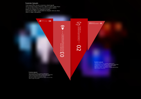 Illustration infographic template with motif of triangle vertically divided to four shifted red sections with simple sign, number and sample text. Blurred photo is used as background.