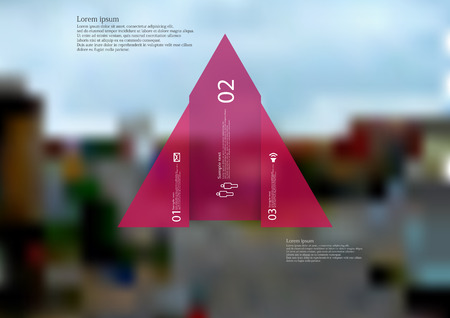 Illustration infographic template with motif of triangle vertically divided to three shifted red sections with simple sign, number and sample text. Blurred photo is used as background.