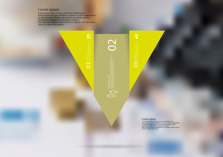 Illustration infographic template with motif of triangle vertically divided to three shifted yellow sections with simple sign, number and sample text. Blurred photo is used as background. Illustration
