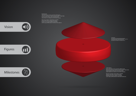 layered: 3D illustration infographic template with motif of red cylinder between two cones horizontally arranged with simple sign and sample text on side in bars. Dark grey gradient is used as pattern.