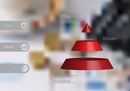 3D illustration infographic template with motif of cone triangle horizontally divided to three red slices with simple sign and sample text on side in bars. Blurred photo is used as background. Illustration