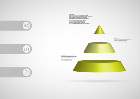 3D Illustration Infographic Template With Motif Of Cone Triangle Horizontally Divided To Three Green Slices