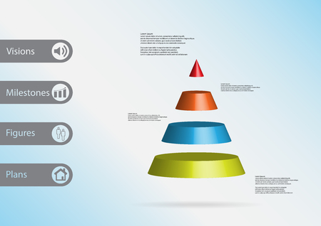 3D Illustration Infographic Template With Motif Of Cone Triangle Horizontally Divided To Four Color Slices