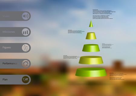 円錐形の三角形をモチーフにした 3 D イラスト インフォ グラフィック テンプレートは、単純な記号とバーの側にサンプル テキスト 5 緑スライス水