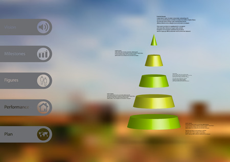 3D illustration infographic template with motif of cone triangle horizontally divided to five green slices with simple sign and sample text on side in bars. Blurred photo is used as background. Illustration