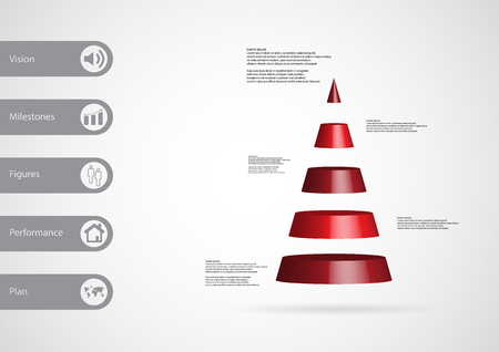 3D illustration infographic template with motif of cone triangle horizontally divided to five red slices with simple sign and sample text on side in bars. Light grey gradient is used as background.