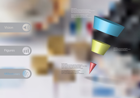 3D illustration infographic template with motif of sloping cone triangle horizontally divided to three color slices with simple sign and text on side in bars. Blurred photo used as background.