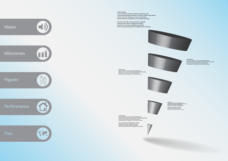 3D illustration infographic template with motif of sloping cone triangle horizontally divided to five grey slices with simple sign and text on side in bars. Light blue gradient used as background.