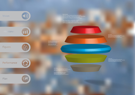 3D illustration infographic template with motif of round hexagon horizontally divided. Illustration