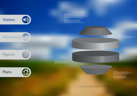 3D illustration infographic template with motif of round octagon horizontally divided to four grey slices with simple sign and text on side in bars. Blurred photo used as background.