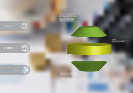 3D illustration infographic template with motif of round octagon horizontally divided to three green slices with simple sign and text on side in bars. Blurred photo used as background. Illustration
