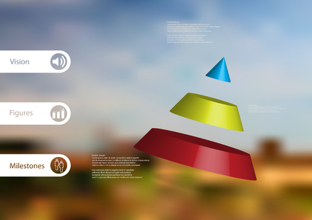 3D illustration infographic template with motif of cone divided to three color parts askew arranged with simple sign and sample text on side in bars. Blurred photo is used as background.