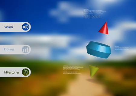 3D illustration infographic template with motif of two spike cone divided to three color parts askew arranged with simple sign and sample text on side in bars. Blurred photo is used as background. Illustration