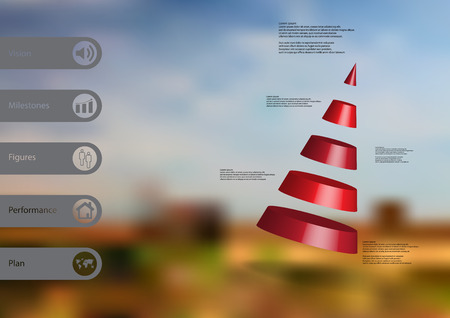 3D illustration infographic template with motif of cone divided to five red parts askew arranged with simple sign and sample text on side in bars. Blurred image is used as background.