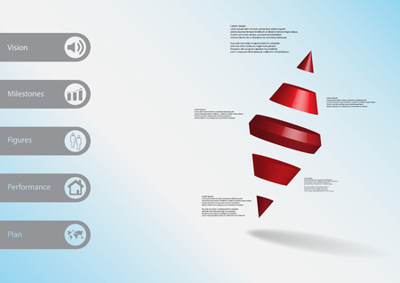 3D illustration infographic template with motif of two spike cone divided to five red parts askew arranged with simple sign and sample text on side in bars. Light blue gradient is used as background. Illustration