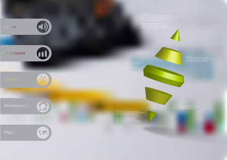 3D illustration infographic template with motif of two spike cone divided to five green parts askew arranged with simple sign and sample text on side in bars. Blurred photo is used as background.